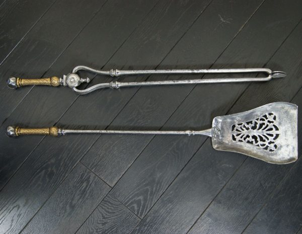 Polished Steel & Brass Fire Irons