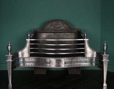 Large Polished Steel Dog Grate (Sold)