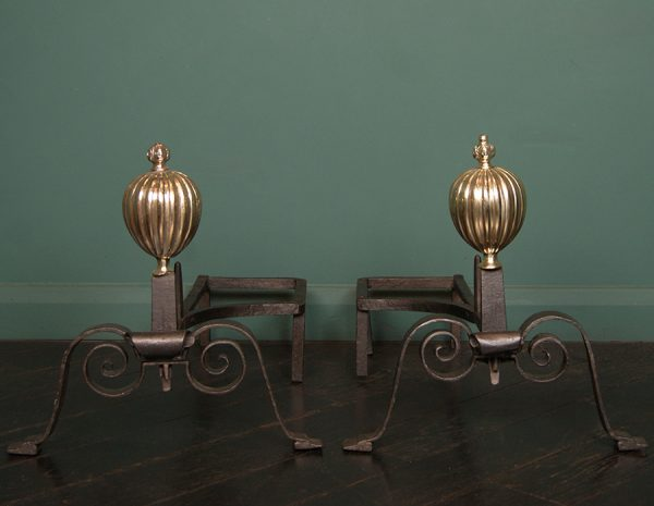 Italian Wrought-Iron and Brass Andirons&nbsp