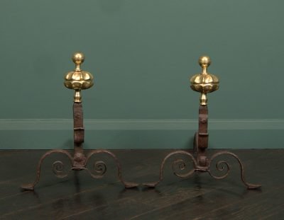 Italian Wrought & Brass Andirons