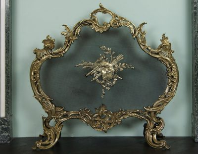 Polished Brass Rococo Fire Screen (SOLD)