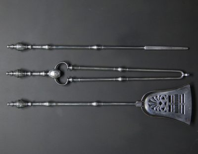 Urn-Topped Engraved Georgian Fire Irons