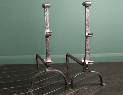 Polished Wrought-Iron Andirons (Sold)