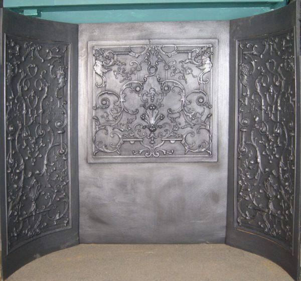 Large Rococo Cast-Iron Fire Set