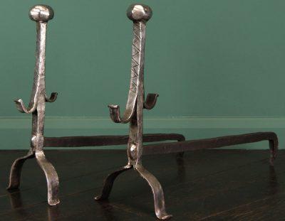Polished Wrought-Iron Andirons