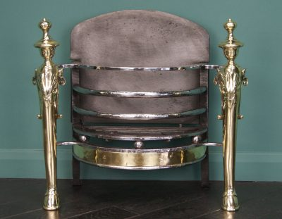 English Wrought & Brass Fire Basket (Sold)