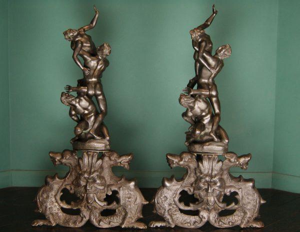 Bronze Sculptural Fireplace Andirons