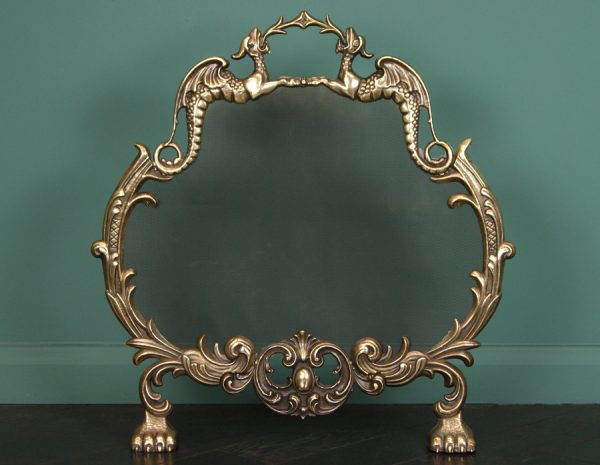 Small Brass Fireplace Fire Screen