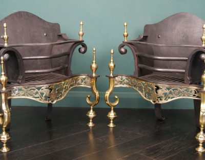 Pair of Black-Iron & Brass Fire Grates (Sold)